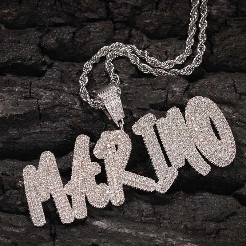 Helloice Custom Cursive Name Necklace in White Gold