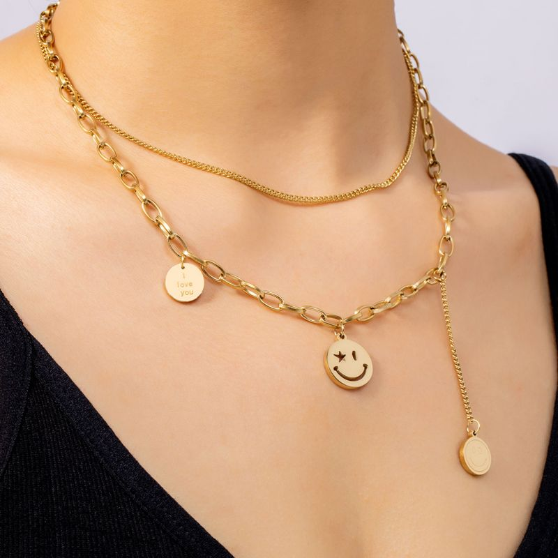 Helloice Women's Assorted Smile Face Layered Necklace