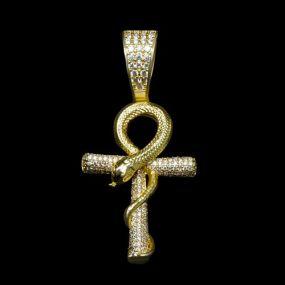 Iced Gold Snake Ankh