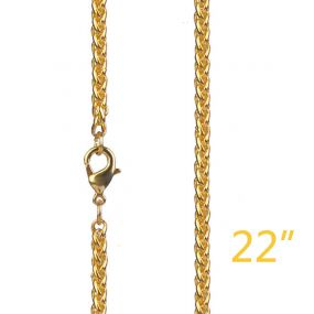 """3mm 22"""" Gold Franco Chain"""