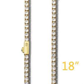 """3mm 18"""" Gold Tennis +$49"""