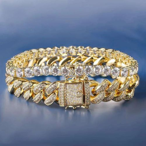 18K Gold 12mm Iced Cuban and 5mm Tennis Bracelet Set