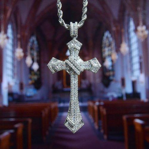 Iced Baguette Diamond Cross Pendant