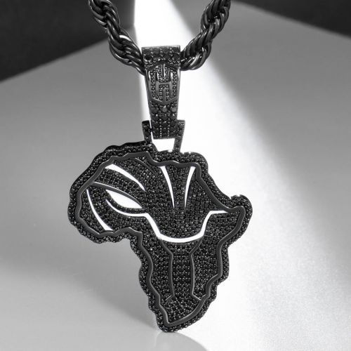 Iced African Black Panther Map in Black Gold