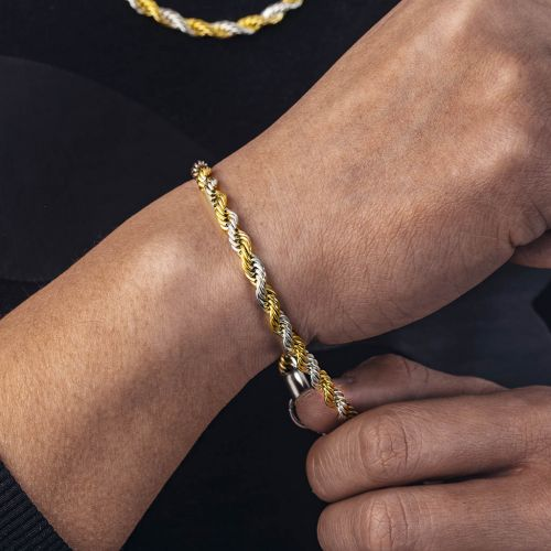 5mm Gold & Silver Two-Tone Rope Bracelet