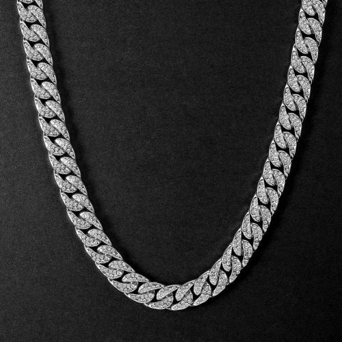 Iced 18K White Gold 13mm Cuban Chain