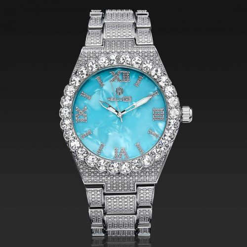 Iced Baby-blue Luminous Roman Numerals Men's Watch in White Gold