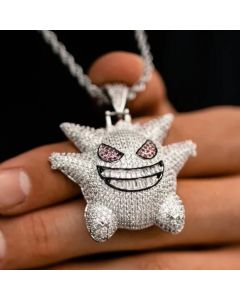 White Iced Gengar Pendant in White Gold