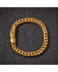 "8mm 8"" 18K Gold Finish Franco Bracelet"