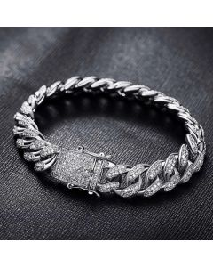 12mm 18K White Gold Finish Iced Cuban Bracelet