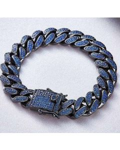 12mm 18K Gold Finish Blue Iced Cuban Link Bracelet