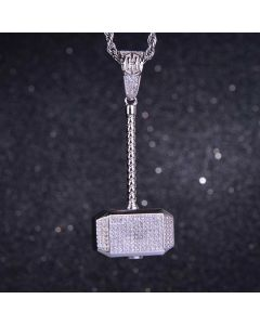 Iced hammer Pendant in White Gold