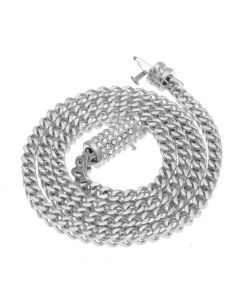 "6mm 28"" 18K White Gold Finish Franco Chain"