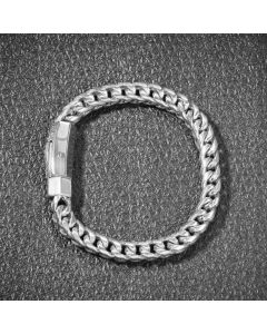 "8mm 8"" 18K White Gold Finish Franco Bracelet"