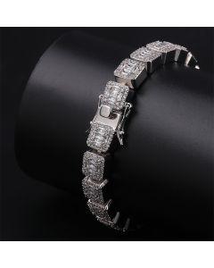 Iced Baguette Bracelet in White Gold