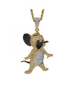 Iced Cartoon Mice Pendant in Gold