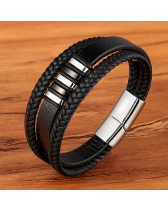 Men's Braid Leather Bracelet with Steel