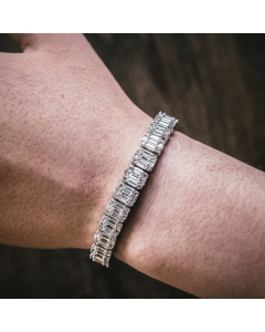 8mm Iced Baguette Bracelet in White Gold