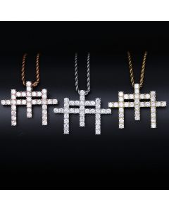 Iced Triple Cross Pendant