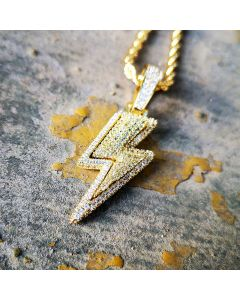 Gold Iced Lightning Bolt Pendant Free Engraving