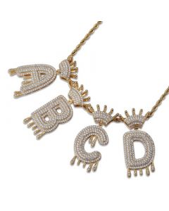 Iced Drip Letters Pendant in Gold