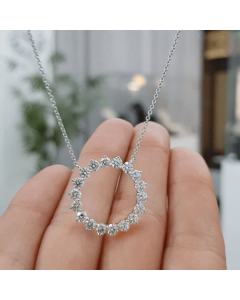 Women's Circle Paved Necklace