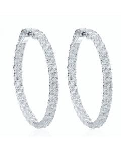 Large Double Row Pave Hoop Earrings