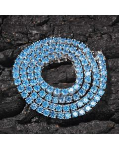 4mm Blue Stones Tennis Chain in 18K White Gold