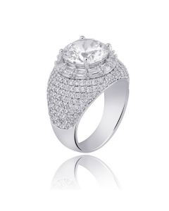 Round Cut and Mirco Pave Ring in White Gold
