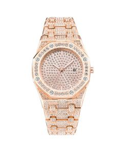 Iced Luxury Stylish Octagon Shaped Dial Watch in Rose Gold