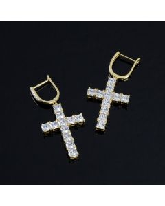 Iced Cross Earring in Gold