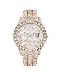 Iced Roman Numerals Men's Watch in Rose Gold