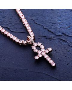 "Pink Iced Ankh Pendant with 4mm 18"" Tennis Chain Set in Rose Gold"
