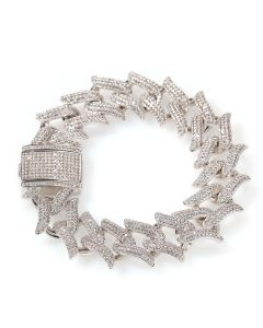 20mm Iced Crown of Thorn Bracelet in White Gold