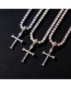 "Iced Baguette Diamonds Cross Pendant with 4mm 18"" Tennis Chain"