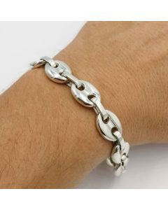 "7mm 8"" Coffee Bean Bracelet in Stainless Steel"