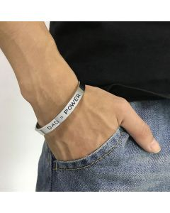 """""""DAD=POWER"""" & """"I Love You Dad"""" Stainless Steel Open Bracelet"""