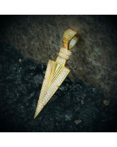 Iced Arrow Spear Pendant in Gold