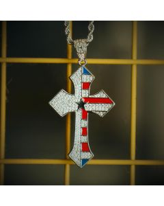 Iced Flag Cross Pendant in White Gold