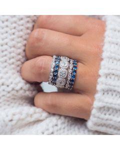 White & Sapphire Stone Stacking Ring Set