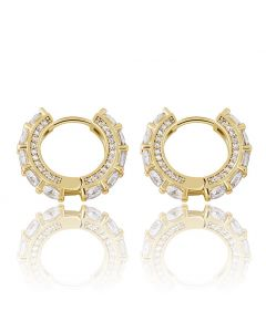 Iced Huggie Earrings in Gold