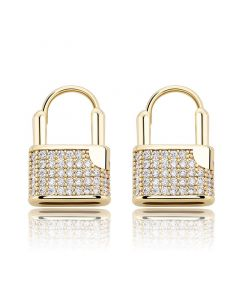 Iced Lock Huggies Earrings