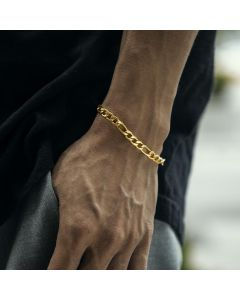 5mm Stainless Steel Figaro Bracelet in Gold