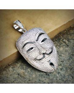 Iced Smile Killer False Face Pendant in White Gold