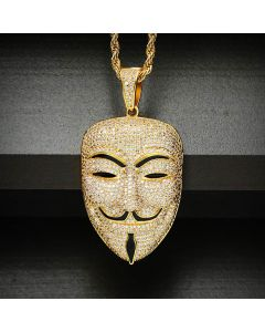 Iced Smile Face Killer False Face Pendant in Gold