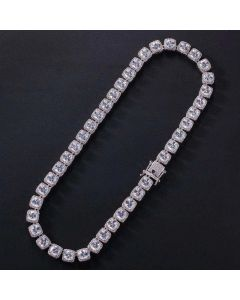 10mm Iced Baguette Tennis Necklace in White Gold