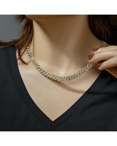 Women's 8mm Iced Cuban Chain in Gold