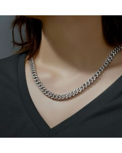 Women's 8mm Iced Cuban Chain in White Gold