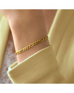 Women's 5mm Figaro Bracelet in Gold