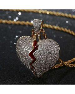 Iced Broken Heart Pendant in Gold